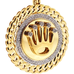 Mens Diamond Crown Round Pendant 10K Yellow Gold 0.29 ct