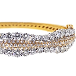 Womens Diamond Bangle Bracelet 14K Two Tone Gold 10.13 ct
