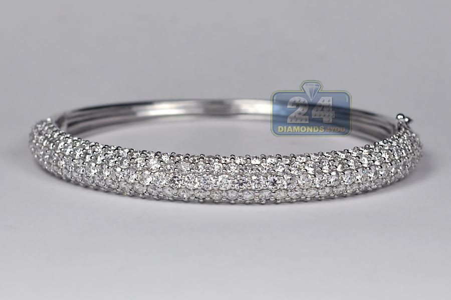 Womens Diamond Bangle Bracelet 18k White Gold 8 53 Ct 8 Mm