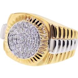Mens Diamond Step Ring 14K Two Tone Gold 0.63 ct