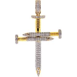 Mens Diamond Nail Cross Large Pendant 10K Yellow Gold 3.48 ct