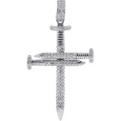 Mens Diamond Nail Cross Pendant 14K White Gold 0.81 ct