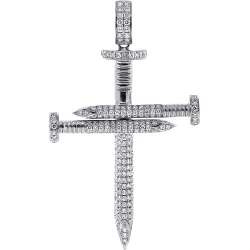 14K White Gold 3.50 ct Diamond Nail Cross Mens Large Pendant