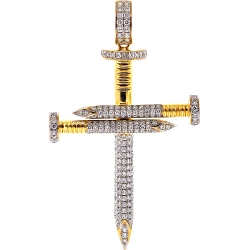 14K Yellow Gold 3.53 ct Diamond Nail Cross Mens Large Pendant