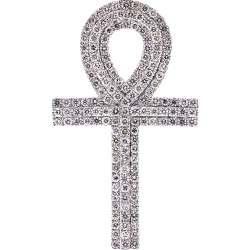 Mens Diamond Egyptian Ankh Cross 14K Yellow Gold 4.50 ct