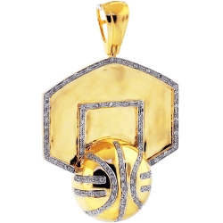 Mens Diamond Basketball Hoop Pendant 10K Yellow Gold 0.55 ct