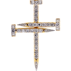 14K Yellow Gold 1.84 ct Diamond Nail Cross Mens Pendant
