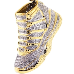 Mens Diamond High Top Sneaker Pendant 10K Yellow Gold 1.16 ct