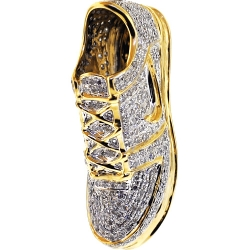 10K Yellow Gold 1.02 ct Diamond Sneaker Mens Shoe Pendant