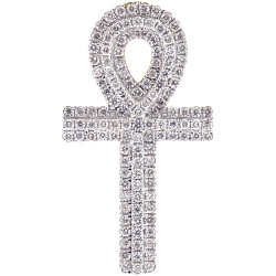 Mens Diamond Ankh Cross Pendant 14K Yellow Gold 0.66 ct 1.5 inch
