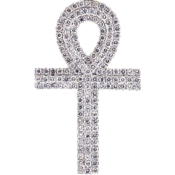 Mens Diamond Ankh Cross Pendant 14K Yellow Gold 1.61 ct 2 inch