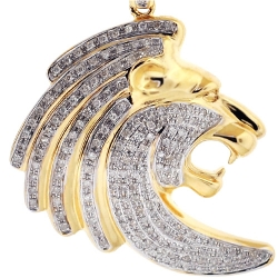 10K Yellow Gold 0.77 ct Diamond Lion Head Mens Pendant