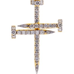 14K Yellow Gold 0.58 ct Diamond Mens Nail Cross Pendant