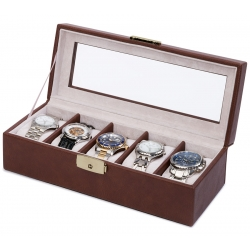 5 Watch Display Storage Box W93012 Orbita Roma Brown Leather