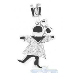 14K White Gold 0.26 ct Diamond Girl Figure Womens Pendant