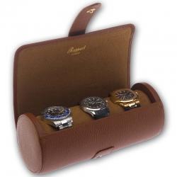 Triple Watch Roll Travel Box D181 Rapport Berkeley Brown Leather