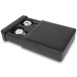 Double Watch Slipcase Travel Box L105 Rapport Portman Black