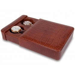 Double Watch Slipcase Travel Box L106 Rapport Portman Brown