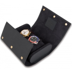 Double Watch Roll Travel Box L115 Rapport Portman Black Rubber