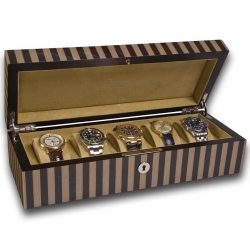 5 Watch Storage Case L270 Rapport Portman Black Tan Wood