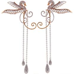 Womens Diamond Swan Dangle Earrings 18K Two Tone Gold 3.84 ct
