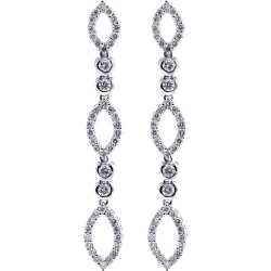 Womens Diamond Drop Earrings 18K White Gold 1.31 ct
