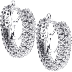 Womens Diamond Mesh Hoop Earrings 18K White Gold 1.90 ct