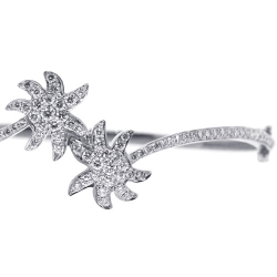 Womens Diamond Palm Bangle Bracelet 14K White Gold 1.66 ct