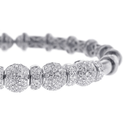 18K White Gold 1.92 ct Diamond Womens Bangle Flex Cuff Bracelet