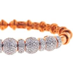 18K Rose Gold 1.91 ct Diamond Womens Bangle Flex Cuff Bracelet