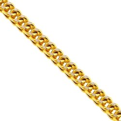 14K Yellow Gold Franco Diamond Cut Link Mens Chain 4.5 mm