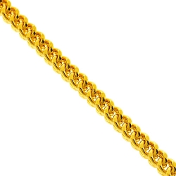 Heavy 14K Yellow Gold Franco Hollow Link Mens Chain 7 mm