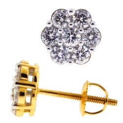 Womens Diamond Cluster Stud Earrings 14K Yellow Gold 0.70 ct
