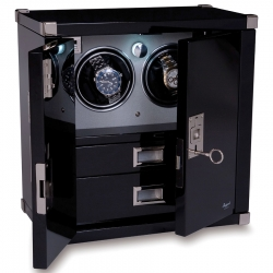 Double Watch Winder Cabinet W292 Rapport Optima Captian's Ebony