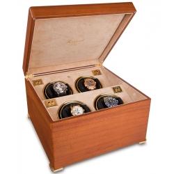 Rapport Perpetua II Satin Walnut Quad Watch Winder Box W114