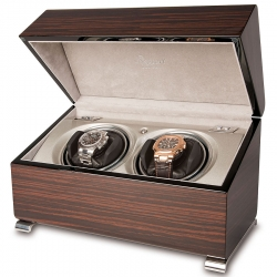 Double Watch Winder Box W342 Rapport Vogue Macassar Wood
