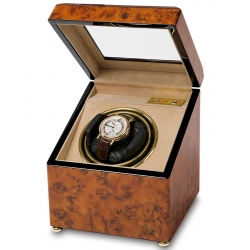 Rapport Optima Walnut Burl Single Watch Winder Box W231