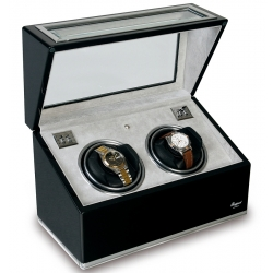 Rapport Optima Ebony Aluminum Double Watch Winder Box W262