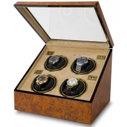 Rapport Optima Walnut Burl Wood Quad Watch Winder Box W234