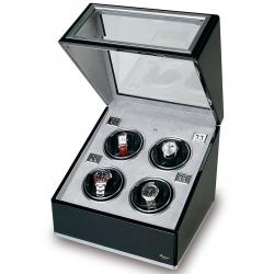 Rapport Optima Ebony Aluminum Quad Watch Winder Box W264