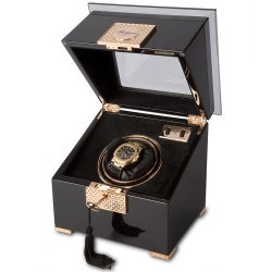 Single Watch Winder W331 Rapport Optima Black Wood Rose Gold