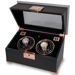 Double Watch Winder W332 Rapport Optima Black Wood Rose Gold