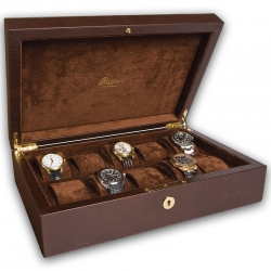 Rapport Portman Brown Leather 10 Watch Storage Box L265
