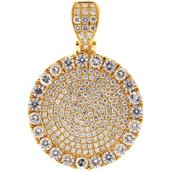 14K Yellow Gold 7.73 ct Diamond Mens Round Medallion Pendant