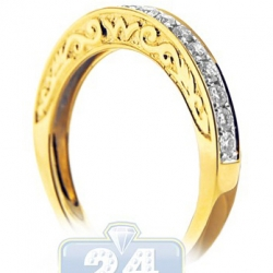 14K Yellow Gold 0.48 ct Diamond Womens Filigree Band Ring