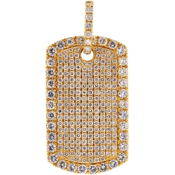 14K Yellow Gold 4.80 ct Diamond Dog Tag Mens ID Pendant