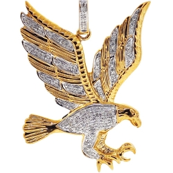 10K Yellow Gold 0.27 ct Diamond American Eagle Mens Pendant