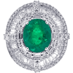 18K White Gold 11.57 ct Emerald Diamond Womens Gemstone Ring