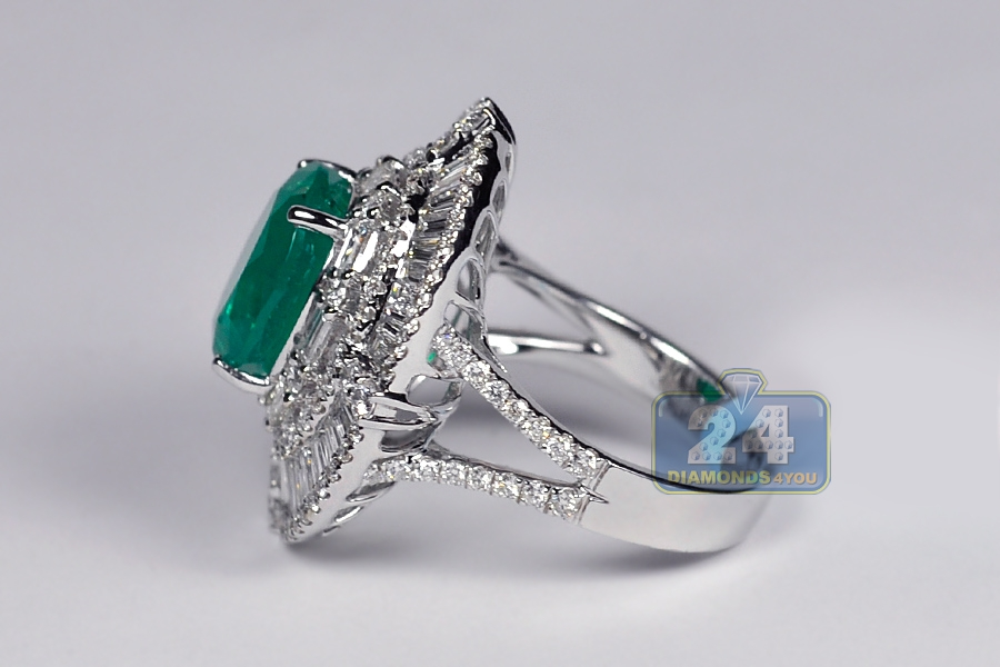 womens emerald gemstone ring 18k white gold 11 57 ct