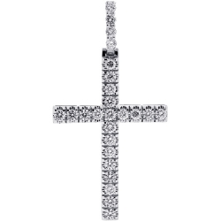14K White Gold 3.11 ct Diamond Mens Cross Pendant